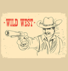 portrait man in cowboy hat holding gun gunslinger vector image