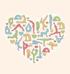 Poses Heart I Love Yoga Isolated on Beige vector image