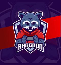 Raccoon gamer character esport mascot logo design vector