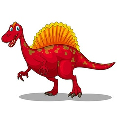 Red dinosaur with sharp claws vector