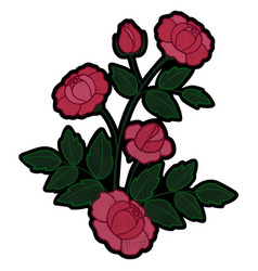 Rose branch embroidery patch vector