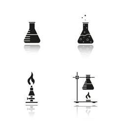 School chemistry lab equipment drop shadow black vector