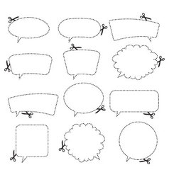 Scissors and speech bubbles vector image