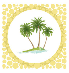 sea island with palm trees vector image