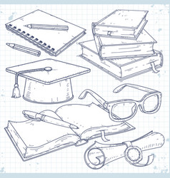 set for students student cap scroll vector image
