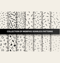 Set memphis seamless patterns fashion 80-90s vector