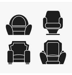 set of black and white Chairs vector image