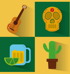 set of icons viva mexico party celebration vector image