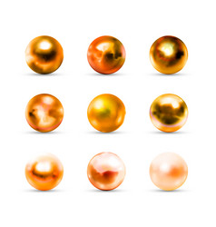set realistic glossy golden balls with glares vector image