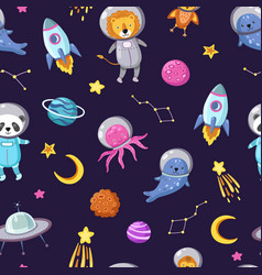 space animals pattern cute baby animal astronauts vector image