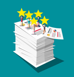 Stars rating symbol with people on stack of paper vector