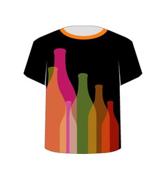 T Shirt Template- Colorful bottles vector image