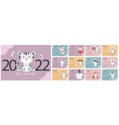 Template for annual calendar 2022 12 pages vector