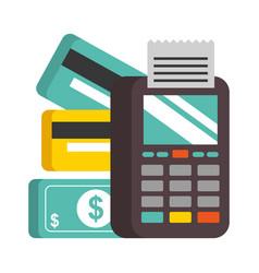 terminal credit cards bank money nfc payment vector image
