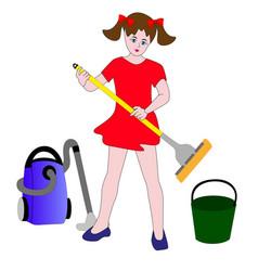 the girl helper in the household vector image