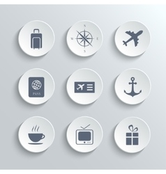 Travel icons set - white round buttons vector image