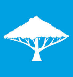 Tree with a spreading crown icon white vector