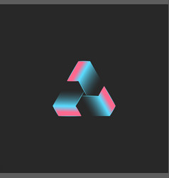 triangle logo creative tech 3d shape cyber vector image