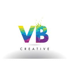 Vb v b colorful letter origami triangles design vector