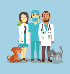Veterinarian staff with cute pets isolated on blue vector