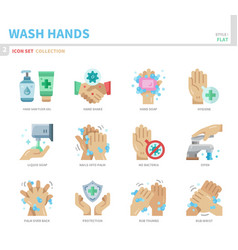 Wash hands icon set vector