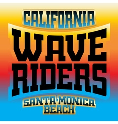 Wave riders t shirt graphics rainbow vector