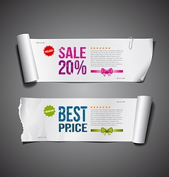 White paper roll ripped design vector image