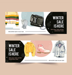 Winter style banner design with sweater gloves vector