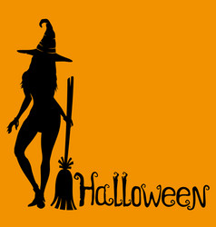 witch with a broom vector image vector image