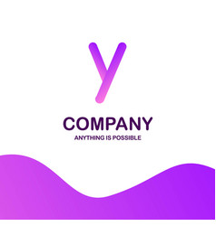 y company logo design with purple theme vector image