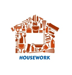 Cleaning tools and supplies in house shape vector image