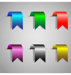 colorful bookmark ribbons set vector image