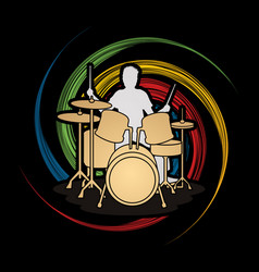 drum player graphic vector image
