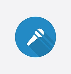 microphone Flat Blue Simple Icon with long shadow vector image vector image