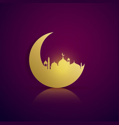 moon and mosque silhouette on purple background vector image