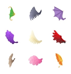 Types of wings icons set cartoon style vector image vector image