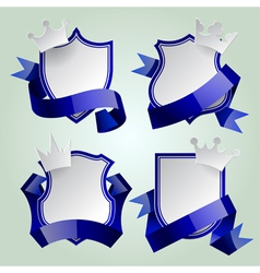 Badge set with ribbon and crown vector image