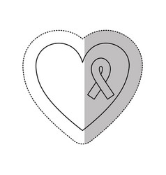 figure heart with breast cancer ribbon icon vector image