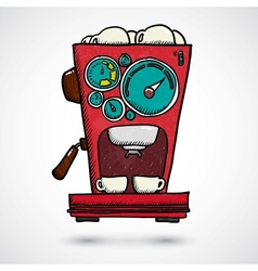 Hand drawn coffee machine vector image