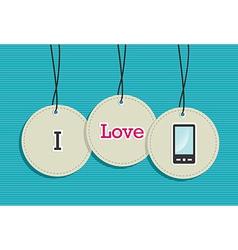 Hanging smart phone badges vector