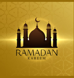 beautiful ramadan kareem background with mosque vector image vector image