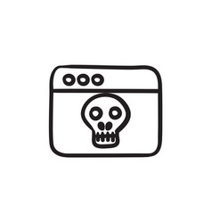 browser window with skull sketch icon vector image vector image