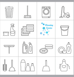 cleaning icons set hygiene tools signs vector image