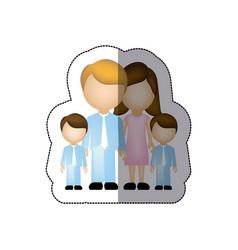 Color family their boys twins icon vector