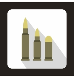 Different caliber bullets icon flat style vector image vector image