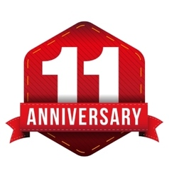 Eleven year anniversary badge with red ribbon vector image
