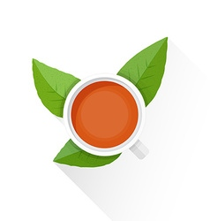 flat tea cup green leafs icon vector image