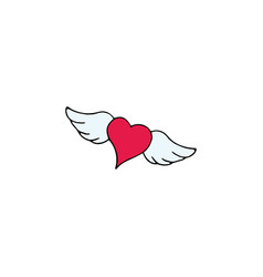 heart with wings cartoon hand drawn icon vector image