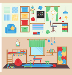 horizontal view cozy baby room decor vector image vector image