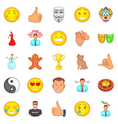positive emotion icons set cartoon style vector image vector image